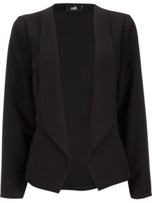 Black Crepe Waterfall Jacket - pattern: plain; style: single breasted blazer; collar: shawl/waterfall; predominant colour: black; occasions: work; length: standard; fit: tailored/fitted; fibres: polyester/polyamide - 100%; sleeve length: long sleeve; sleeve style: standard; collar break: low/open; pattern type: fabric; texture group: woven light midweight