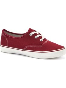 Deep Red Chunky Sole Lace Up Trainers - predominant colour: true red; occasions: casual, holiday; material: fabric; heel height: flat; toe: round toe; style: trainers; finish: plain; pattern: plain