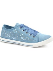 Blue Embellished Lace Up Trainers - predominant colour: denim; occasions: casual, holiday; material: fabric; heel height: flat; embellishment: studs; toe: round toe; style: trainers; trends: sporty redux, metallics; finish: plain; pattern: two-tone