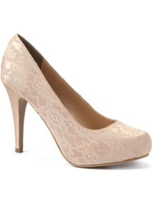 Champagne Lace Court Shoes - predominant colour: champagne; occasions: evening, occasion; material: lace; heel height: high; embellishment: embroidered; heel: stiletto; toe: round toe; style: courts; finish: plain; pattern: patterned/print