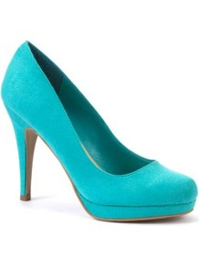 Turquoise Suedette Court Shoes - predominant colour: turquoise; occasions: evening, occasion; material: suede; heel height: high; heel: stiletto; toe: round toe; style: courts; finish: plain; pattern: plain