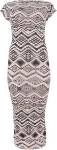 Pale Pink And Black Aztec Print Cap Sleeve Midi Dress - length: below the knee; neckline: slash/boat neckline; sleeve style: capped; fit: tight; style: bodycon; predominant colour: blush; occasions: casual, evening, occasion; fibres: polyester/polyamide - stretch; sleeve length: short sleeve; texture group: jersey - clingy; trends: statement prints; pattern type: fabric; pattern size: standard; pattern: patterned/print