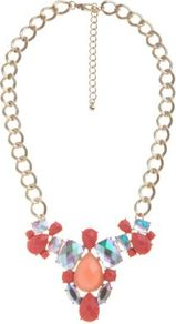 Coral Stone Retro Necklace - predominant colour: coral; occasions: evening, occasion, holiday; style: bib; length: mid; size: large/oversized; material: chain/metal; trends: metallics; finish: metallic; embellishment: jewels