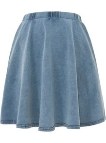 Mid Blue Denim Jersey Skater Skirt - length: mid thigh; pattern: plain; fit: loose/voluminous; waist detail: elasticated waist; waist: high rise; predominant colour: denim; occasions: casual, work, holiday; style: a-line; fibres: cotton - stretch; hip detail: soft pleats at hip/draping at hip/flared at hip; trends: volume; pattern type: fabric; pattern size: standard; texture group: jersey - stretchy/drapey