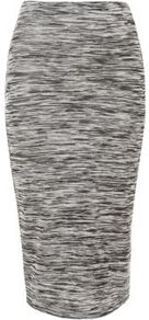 Grey Space Dye Midi Tube Skirt - fit: tight; waist detail: elasticated waist; waist: high rise; predominant colour: charcoal; occasions: casual, evening; length: on the knee; fibres: polyester/polyamide - mix; style: tube; pattern type: fabric; pattern size: standard; pattern: patterned/print; texture group: jersey - stretchy/drapey