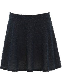 Inspire Navy Boucle Skater Skirt - pattern: plain; fit: loose/voluminous; waist detail: elasticated waist; waist: high rise; predominant colour: navy; occasions: casual; length: just above the knee; style: a-line; fibres: polyester/polyamide - stretch; hip detail: soft pleats at hip/draping at hip/flared at hip; pattern type: fabric; pattern size: standard; texture group: woven light midweight