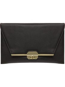Black Snake Bar Lock Clutch - predominant colour: black; occasions: evening, work, occasion, holiday; type of pattern: standard; style: clutch; length: hand carry; size: standard; material: faux leather; pattern: plain; finish: plain; embellishment: chain/metal