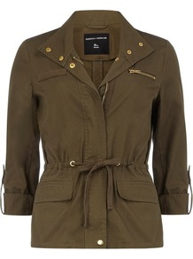 Khaki Gold Trim Safari Jacket - pattern: plain; length: standard; collar: funnel; fit: slim fit; predominant colour: khaki; occasions: casual; fibres: cotton - 100%; waist detail: belted waist/tie at waist/drawstring; sleeve length: 3/4 length; sleeve style: standard; texture group: cotton feel fabrics; collar break: high/illusion of break when open; pattern type: fabric