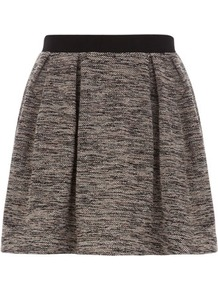 Flecked Boucle Prom Skirt - length: mini; pattern: plain; style: full/prom skirt; fit: loose/voluminous; waist detail: embellishment at waist/feature waistband; waist: high rise; predominant colour: mid grey; secondary colour: mid grey; occasions: casual, evening, work; fibres: cotton - mix; pattern type: fabric; texture group: other - light to midweight