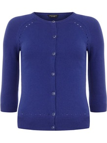 Royal Blue Pointelle Cardigan - neckline: round neck; pattern: plain; predominant colour: navy; occasions: casual, work; length: standard; style: standard; fibres: cotton - mix; fit: slim fit; sleeve length: 3/4 length; sleeve style: standard; texture group: cotton feel fabrics; pattern type: fabric