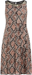 Dusky Pink Snake Print Dress - style: shift; sleeve style: sleeveless; waist detail: fitted waist; shoulder detail: contrast pattern/fabric at shoulder; secondary colour: black; occasions: evening, work, occasion; length: just above the knee; fit: body skimming; fibres: polyester/polyamide - stretch; neckline: crew; hip detail: sculpting darts/pleats/seams at hip; back detail: keyhole/peephole detail at back; sleeve length: sleeveless; pattern type: fabric; pattern size: big &amp; busy; pattern: animal print; texture group: jersey - stretchy/drapey; predominant colour: dusky pink