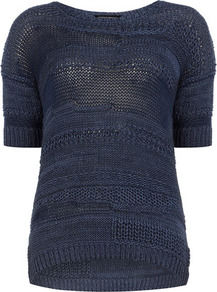 Blue Textured Jumper - neckline: round neck; pattern: plain; style: standard; predominant colour: navy; occasions: casual, work; length: standard; fibres: acrylic - mix; fit: standard fit; sleeve length: half sleeve; sleeve style: standard; texture group: knits/crochet; pattern type: knitted - other