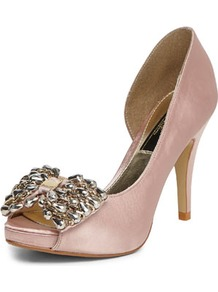 Nude Bow Peep Toe Courts - predominant colour: nude; occasions: evening, occasion; material: satin; heel height: high; heel: stiletto; toe: open toe/peeptoe; style: courts; finish: plain; pattern: plain; embellishment: bow