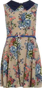 Blue Multi Floral Print Dress - length: mid thigh; sleeve style: sleeveless; waist detail: belted waist/tie at waist/drawstring; secondary colour: pale blue; predominant colour: camel; occasions: casual; fit: fitted at waist &amp; bust; style: fit &amp; flare; fibres: polyester/polyamide - 100%; neckline: no opening/shirt collar/peter pan; sleeve length: sleeveless; texture group: cotton feel fabrics; pattern type: fabric; pattern size: small &amp; busy; pattern: florals