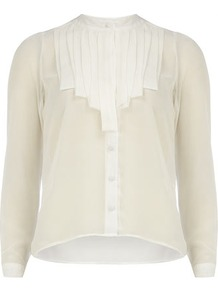 White Pleat Detail Shirt - pattern: plain; style: shirt; bust detail: ruching/gathering/draping/layers/pintuck pleats at bust; predominant colour: white; occasions: casual, evening, work; length: standard; neckline: collarstand; fibres: polyester/polyamide - 100%; fit: straight cut; sleeve length: long sleeve; sleeve style: standard; texture group: sheer fabrics/chiffon/organza etc.; pattern type: fabric