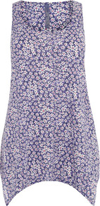 Purple Daisy Print Vest - sleeve style: sleeveless; length: below the bottom; style: vest top; occasions: casual, holiday; neckline: scoop; fibres: cotton - mix; fit: body skimming; predominant colour: multicoloured; sleeve length: sleeveless; pattern type: fabric; pattern size: small &amp; busy; pattern: florals; texture group: jersey - stretchy/drapey