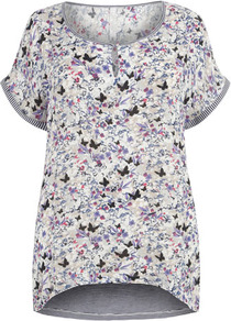 Butterfly Print Top - occasions: casual; length: standard; style: top; neckline: peep hole neckline; fibres: polyester/polyamide - 100%; fit: loose; back detail: longer hem at back than at front; predominant colour: multicoloured; sleeve length: short sleeve; sleeve style: standard; pattern type: fabric; pattern size: small &amp; busy; pattern: patterned/print; texture group: jersey - stretchy/drapey