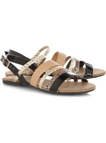Multistrap Sandals - occasions: casual, holiday; predominant colour: multicoloured; material: faux leather; heel height: flat; embellishment: buckles; ankle detail: ankle strap; heel: standard; toe: open toe/peeptoe; style: strappy; trends: metallics; finish: plain; pattern: colourblock