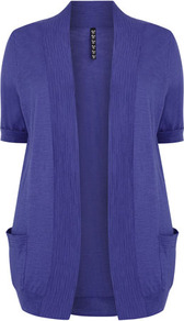 Purple Slub Cardigan - pattern: plain; length: below the bottom; hip detail: front pockets at hip; neckline: collarless open; style: open front; predominant colour: indigo; occasions: casual, work; fibres: cotton - 100%; fit: loose; sleeve length: short sleeve; sleeve style: standard; texture group: knits/crochet; pattern type: knitted - fine stitch; pattern size: standard
