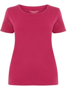 Pink Cotton T Shirt - neckline: round neck; pattern: plain; style: t-shirt; predominant colour: hot pink; occasions: casual; length: standard; fibres: cotton - 100%; fit: body skimming; sleeve length: short sleeve; sleeve style: standard; pattern type: fabric; pattern size: standard; texture group: jersey - stretchy/drapey
