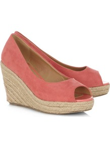 Coral High Espadrille Wedges - predominant colour: coral; occasions: casual, evening, holiday; material: fabric; heel height: high; heel: wedge; toe: open toe/peeptoe; style: courts; finish: plain; pattern: plain
