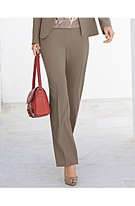 Suit Trousers - length: standard; pattern: plain; waist detail: fitted waist; pocket detail: small back pockets; waist: mid/regular rise; predominant colour: taupe; occasions: evening, work, holiday; fibres: polyester/polyamide - stretch; hip detail: fitted at hip (bottoms); fit: straight leg; pattern type: fabric; pattern size: standard; texture group: other - light to midweight; style: standard
