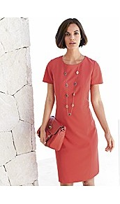 Shift Dress - style: shift; neckline: round neck; fit: tailored/fitted; pattern: plain; predominant colour: coral; occasions: casual, evening, work, occasion; length: just above the knee; fibres: polyester/polyamide - mix; sleeve length: short sleeve; sleeve style: standard; trends: glamorous day shifts; pattern type: fabric; pattern size: standard; texture group: jersey - stretchy/drapey