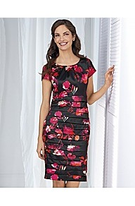 Floral Print Dress - style: shift; neckline: round neck; sleeve style: capped; fit: tailored/fitted; predominant colour: black; occasions: evening, work, occasion; length: just above the knee; fibres: polyester/polyamide - stretch; sleeve length: short sleeve; texture group: silky - light; trends: high impact florals, glamorous day shifts; hip detail: ruffles/tiers/tie detail at hip; pattern type: fabric; pattern size: small & busy; pattern: florals
