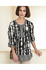 Abstract Print Blouse - neckline: round neck; sleeve style: bell sleeve; length: below the bottom; style: tunic; shoulder detail: contrast pattern/fabric at shoulder; bust detail: ruching/gathering/draping/layers/pintuck pleats at bust; predominant colour: black; occasions: casual, evening, work, holiday; fibres: cotton - 100%; fit: loose; sleeve length: 3/4 length; texture group: cotton feel fabrics; trends: modern geometrics; pattern type: fabric; pattern size: big &amp; busy; pattern: patterned/print