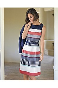 Multi Stripe Dress - style: shift; neckline: round neck; sleeve style: sleeveless; pattern: striped; waist detail: twist front waist detail/nipped in at waist on one side/soft pleats/draping/ruching/gathering waist detail; occasions: casual, work; length: just above the knee; fit: fitted at waist & bust; fibres: linen - mix; predominant colour: multicoloured; sleeve length: sleeveless; texture group: cotton feel fabrics; trends: glamorous day shifts; pattern type: fabric; pattern size: standard