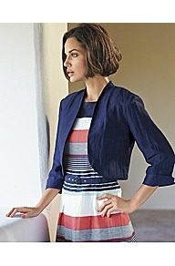 Linen Crop Jacket - pattern: plain; style: single breasted blazer; length: cropped; collar: standard lapel/rever collar; predominant colour: navy; occasions: casual, work; fit: straight cut (boxy); fibres: linen - mix; sleeve length: 3/4 length; sleeve style: standard; texture group: structured shiny - satin/tafetta/silk etc.; collar break: low/open; pattern type: fabric; pattern size: standard