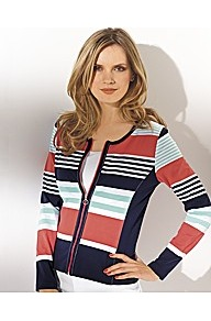 Multi Stripe Zip Jumper - neckline: round neck; pattern: horizontal stripes; style: standard; bust detail: buttons at bust (in middle at breastbone)/zip detail at bust; occasions: casual; length: standard; fibres: cotton - stretch; fit: slim fit; predominant colour: multicoloured; sleeve length: long sleeve; sleeve style: standard; trends: statement prints; pattern type: fabric; pattern size: standard; texture group: jersey - stretchy/drapey