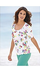 White Base Fruit Top - style: t-shirt; predominant colour: white; occasions: casual, work, holiday; length: standard; neckline: scoop; fibres: cotton - 100%; fit: body skimming; sleeve length: short sleeve; sleeve style: standard; pattern type: fabric; pattern size: big & busy; pattern: patterned/print; texture group: jersey - stretchy/drapey