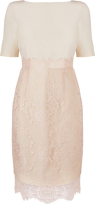 Charis Crepe And Lace Dress, Champagne - style: shift; neckline: slash/boat neckline; fit: fitted at waist; waist detail: fitted waist; predominant colour: blush; occasions: evening, occasion; length: on the knee; fibres: polyester/polyamide - 100%; hip detail: contrast fabric/print detail at hip; sleeve length: half sleeve; sleeve style: standard; texture group: lace; trends: glamorous day shifts; pattern type: fabric; pattern size: standard; pattern: patterned/print