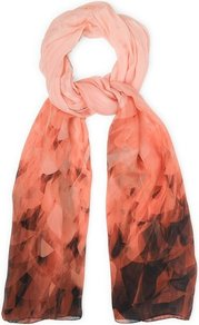 Olivia Silk Graphic Print Scarf Orange Carnelian - predominant colour: coral; occasions: casual, evening, work; type of pattern: standard; style: regular; size: standard; material: silk; pattern: patterned/print