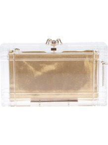 &#x27;Pandora&#x27; Box Clutch - predominant colour: gold; occasions: evening, occasion, holiday; type of pattern: light; style: clutch; length: hand carry; size: standard; material: plastic/rubber; pattern: plain; trends: metallics; finish: metallic; embellishment: chain/metal