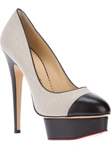 &#x27;Monacoco&#x27; Pump - predominant colour: stone; occasions: evening, occasion; material: fabric; heel height: high; heel: platform; toe: pointed toe; style: courts; finish: plain; pattern: plain