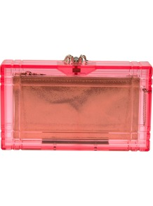 'Pandora' Box Clutch - predominant colour: pink; occasions: evening, occasion, holiday; type of pattern: light; style: clutch; length: hand carry; size: standard; material: plastic/rubber; pattern: plain; trends: fluorescent; finish: fluorescent; embellishment: chain/metal