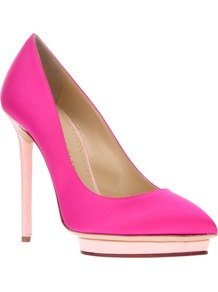 'Debonaire' Pump - predominant colour: hot pink; occasions: evening, occasion; material: suede; heel height: high; heel: platform; toe: pointed toe; style: courts; trends: fluorescent; finish: plain; pattern: plain