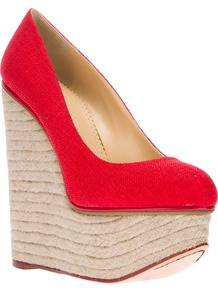'Carmen' Espadrille Wedge - predominant colour: true red; occasions: casual, holiday; material: fabric; heel height: high; heel: wedge; toe: round toe; style: courts; finish: plain; pattern: plain
