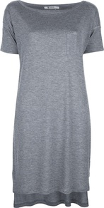T Shirt Dress - style: t-shirt; neckline: slash/boat neckline; pattern: plain; bust detail: pocket detail at bust; predominant colour: mid grey; occasions: casual; length: just above the knee; fit: body skimming; fibres: polyester/polyamide - 100%; back detail: longer hem at back than at front; sleeve length: short sleeve; sleeve style: standard; pattern type: fabric; pattern size: standard; texture group: jersey - stretchy/drapey