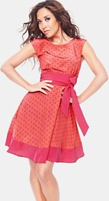 Spotty Dress, Coral - neckline: round neck; sleeve style: capped; style: full skirt; pattern: polka dot; waist detail: belted waist/tie at waist/drawstring; predominant colour: coral; occasions: casual, evening, occasion; length: just above the knee; fit: fitted at waist & bust; fibres: polyester/polyamide - mix; hip detail: structured pleats at hip; sleeve length: sleeveless; texture group: sheer fabrics/chiffon/organza etc.; pattern type: fabric; pattern size: small & busy