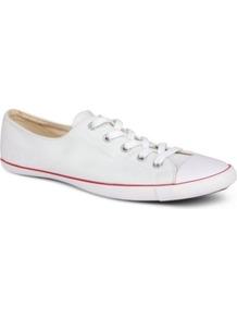 All Star Light Ox Trainers - predominant colour: white; occasions: casual, holiday; material: fabric; heel height: flat; toe: round toe; style: trainers; finish: plain; pattern: plain