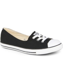 Dance Lace Low Top Trainers - predominant colour: black; occasions: casual, holiday; material: fabric; heel height: flat; toe: round toe; style: trainers; finish: plain; pattern: plain; embellishment: toe cap