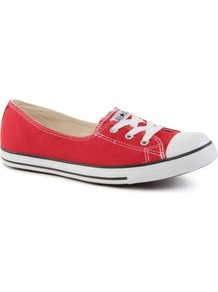 Dance Lace Low Top Trainers - predominant colour: true red; occasions: casual, holiday; material: fabric; heel height: flat; toe: round toe; style: trainers; finish: plain; pattern: plain