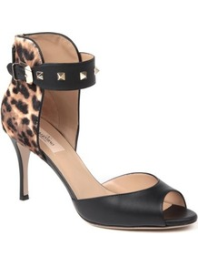 Rockstud Sandals - predominant colour: black; occasions: evening, work, occasion; material: leather; heel height: mid; embellishment: studs; ankle detail: ankle strap; heel: stiletto; toe: open toe/peeptoe; style: standard; finish: plain; pattern: animal print