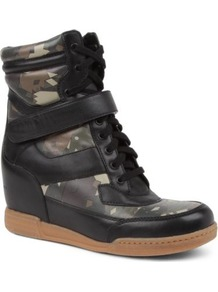 Kisha Camouflage Wedge Trainers - predominant colour: black; occasions: casual; material: leather; heel height: mid; embellishment: studs; heel: wedge; toe: round toe; boot length: ankle boot; style: high top; trends: sporty redux; finish: plain; pattern: patterned/print