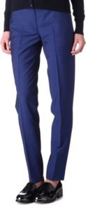 Cropped Wool Trousers - pattern: plain; pocket detail: small back pockets; waist: mid/regular rise; predominant colour: navy; occasions: casual, evening, work; length: ankle length; fibres: wool - 100%; hip detail: fitted at hip (bottoms); waist detail: narrow waistband; fit: slim leg; pattern type: fabric; pattern size: standard; texture group: woven light midweight; style: standard