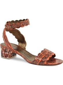 Frenzy Snake Effect Leather Sandals - predominant colour: bright orange; occasions: casual, evening, work, occasion, holiday; material: leather; heel height: mid; ankle detail: ankle strap; heel: block; toe: open toe/peeptoe; style: standard; finish: plain; pattern: animal print