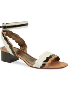 Frenzy Scalloped Leather Sandals - occasions: casual, evening, work, occasion, holiday; predominant colour: multicoloured; material: leather; heel height: mid; ankle detail: ankle strap; heel: block; toe: open toe/peeptoe; style: standard; finish: plain; pattern: colourblock
